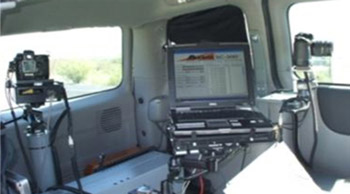Photo.  A photo showing the equipment inside an automated speed enforcement van.