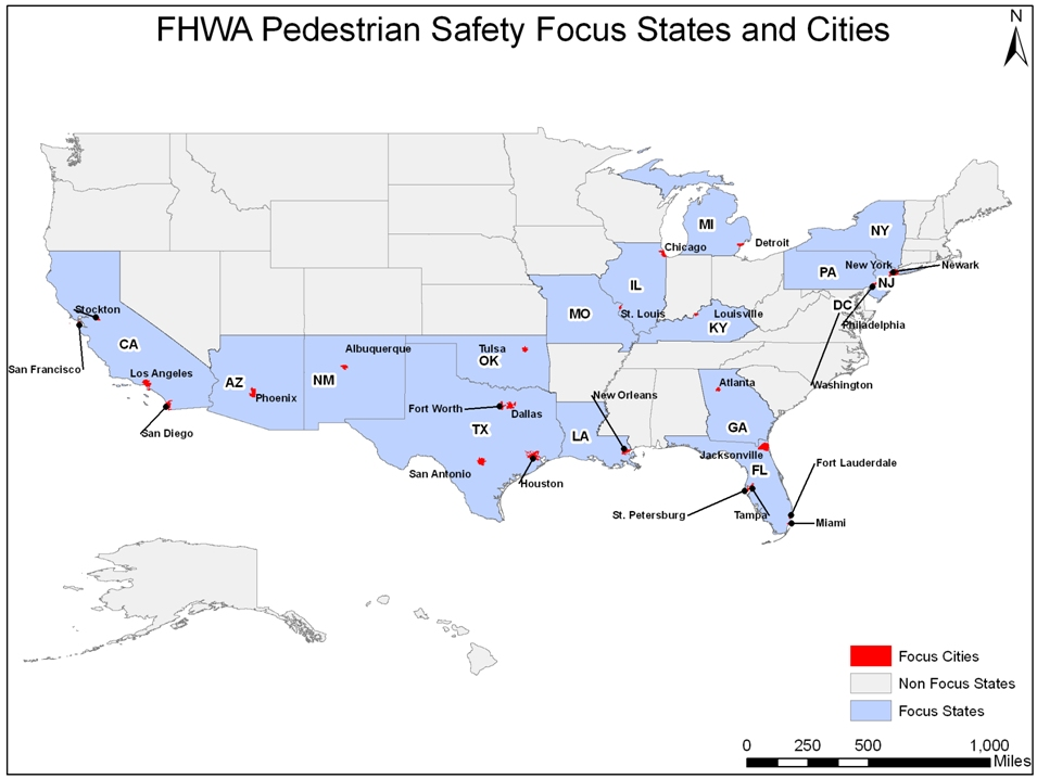 Map of Pedestrian Safety Focus States and Cities