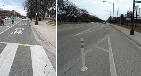 Two side-by-side photos depict transit and bicycles sharing an area at an intersection (left) and at a transit stop and bicycle lane to the right of a through lane (right).