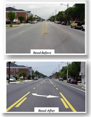 Road Diet on Edgewater Drive, Orlando, Florida, before and after reconfiguration