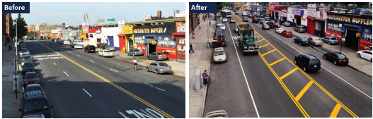 Aerial photo of a road diet in which two travel lanes are divided by a combination of painted lines and medians that serve as pedestrian refuges. To the left, a line of transit buses occupies a converted travel lane closest to the curb, and to the right is a row of parallel parked cars to the right of the travel lane. Source: New York City Department of Transportation.